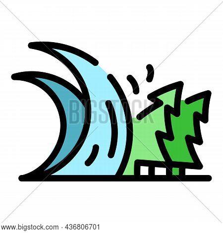 Alarm Tsunami Wave Icon. Outline Alarm Tsunami Wave Vector Icon Color Flat Isolated