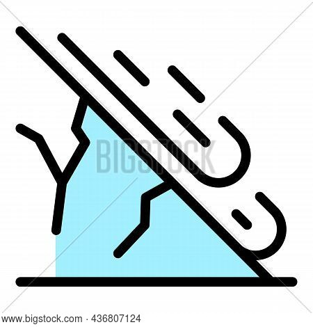 Fast Landslide Icon. Outline Fast Landslide Vector Icon Color Flat Isolated