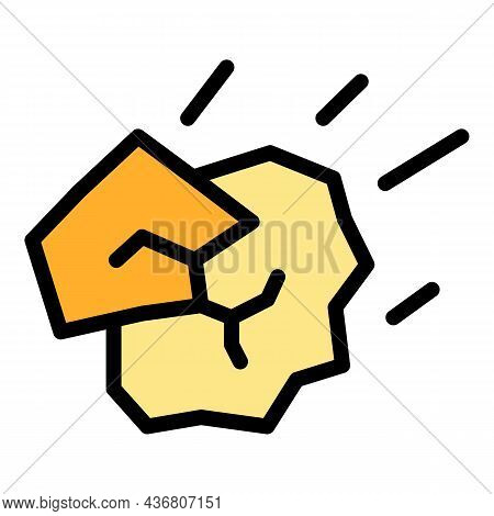 Stone Landslide Icon. Outline Stone Landslide Vector Icon Color Flat Isolated
