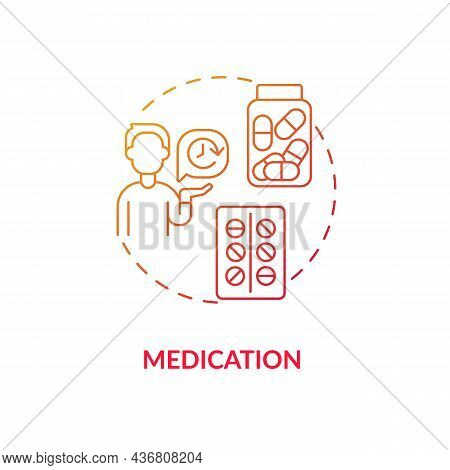 Medication Concept Icon. Treatment For Adhd In Adults Abstract Idea Thin Line Illustration. Helping