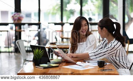 Two Business Woman Young Entrepreneur Meeting Talking About New Project, Startup Business Project Co