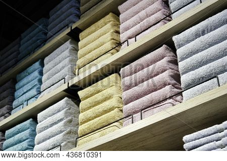 Store Shelves With Stacks Of Plain Bath Towels. Color Palette. Long Banner. Home Decor And Comfort C