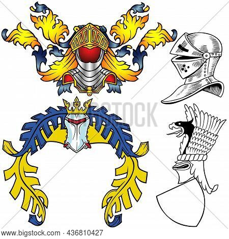 Set Of Colorful Heraldic Helmets - Four Illustrations Isolated On White Background, Vector