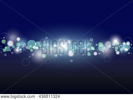 Blue Background With Bokeh Effect As Transparent Circles With Light Effects And Gradient Lines - Abs