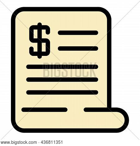 Payment Bill Icon. Outline Payment Bill Vector Icon Color Flat Isolated