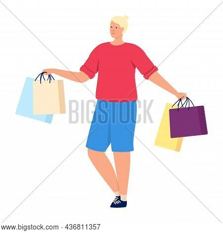 Boy In Shop. Male Retail Consumer Isolated On White Background