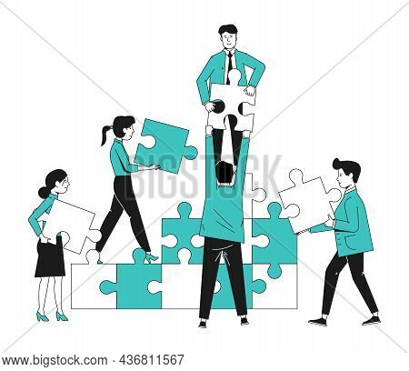 Team Collaboration Concept. Office People With Puzzle. Teamwork Strategy