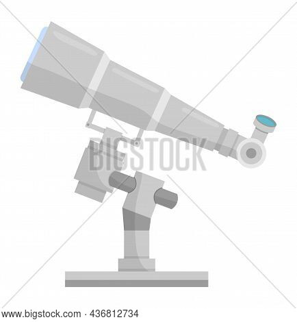 Telescope Cartoon Icon. Astronomy Stars Observation Science Research Equipment Illustration.