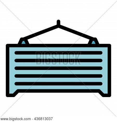 Shipping Container Icon. Outline Shipping Container Vector Icon Color Flat Isolated