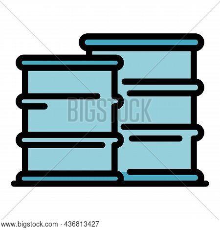 Biohazard Stack Barrels Icon. Outline Biohazard Stack Barrels Vector Icon Color Flat Isolated