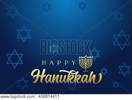 Happy Hanukkah Lettering Background With Menorah And David Stars. Vector Illustration