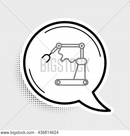 Line Industrial Machine Robotic Robot Arm Hand Factory Icon Isolated On Grey Background. Industrial