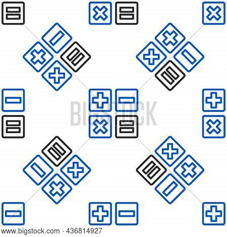 Line Calculator Icon Isolated Seamless Pattern On White Background. Accounting Symbol. Business Calc