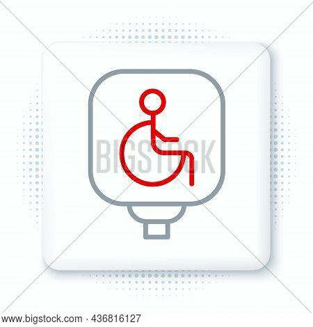 Line Disabled Wheelchair Icon Isolated On White Background. Disabled Handicap Sign. Colorful Outline