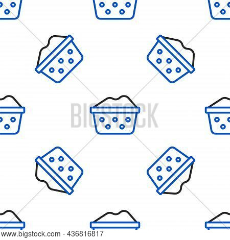 Line Plastic Basin With Soap Suds Icon Isolated Seamless Pattern On White Background. Bowl With Wate