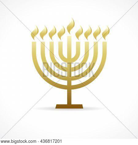 Hanukkah Menorah Golden Emblem. Happy Hannukah Greeting Card,  Candelabrum Used In Jewish Worship Wi