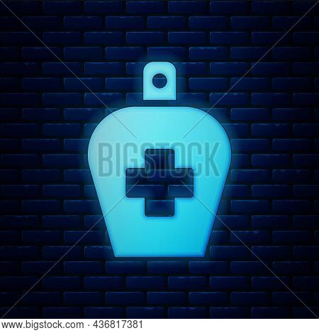 Glowing Neon Bottle Of Liquid Antibacterial Soap With Dispenser Icon Isolated On Brick Wall Backgrou