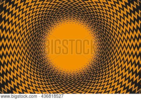 Radial Rays Zigzag Lines Frame Background. Vector Illustration
