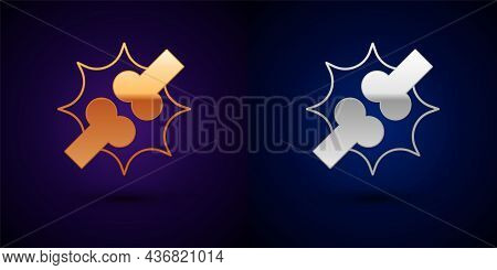Gold And Silver Joint Pain, Knee Pain Icon Isolated On Black Background. Orthopedic Medical. Disease