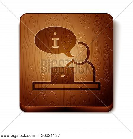 Brown Television Report Icon Isolated On White Background. Tv News. Wooden Square Button. Vector