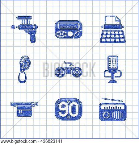Set Gamepad, 90s Retro, Radio With Antenna, Microphone, Waist Bag Of Banana, Ear Earring, Typewriter