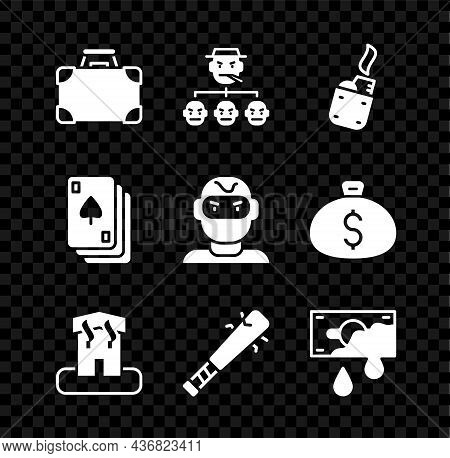 Set Briefcase And Money, Mafia, Lighter, Arson Home, Baseball Bat With Nails, Bloody, Playing Cards