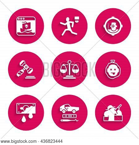 Set Scales Of Justice, Car Theft, Murder, Bloody Money, Judge Gavel, Headshot And Internet Piracy Ic