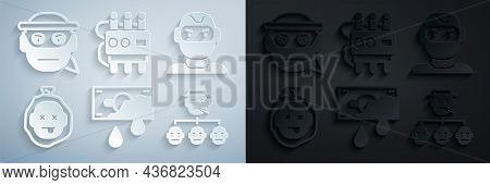 Set Bloody Money, Thief Mask, Murder, Mafia, Dynamite And Timer Clock And Bandit Icon. Vector