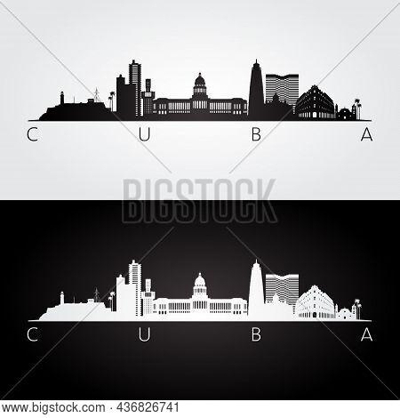 Cuba Skyline And Landmarks Silhouette, Black And White Design, Vector Illustration.