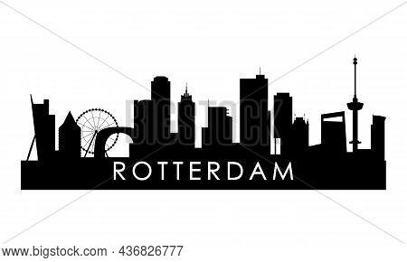 Rotterdam Skyline Silhouette. Black Rotterdam City Design Isolated On White Background.