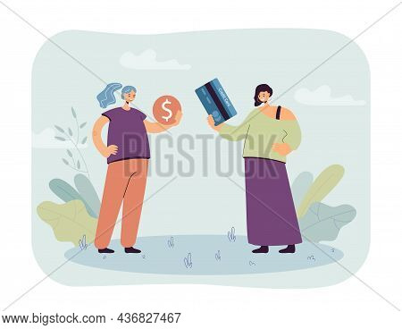 Two Cartoon Women With Coin And Credit Card. Female Characters Using Different Payment Methods Flat