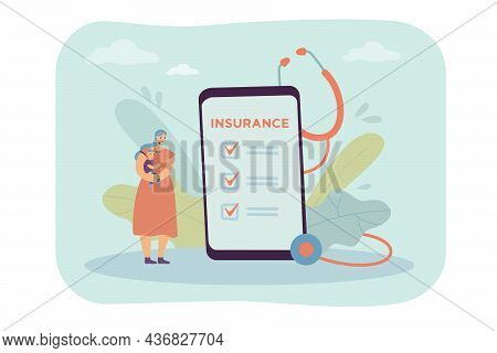 Mother With Baby Next To Insurance Policy Form On Phone Screen. Tiny Woman Holding Child, Smartphone