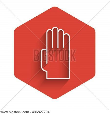 White Line Rubber Gloves Icon Isolated With Long Shadow. Latex Hand Protection Sign. Housework Clean