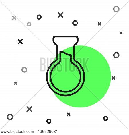 Black Line Test Tube And Flask Icon Isolated On White Background. Chemical Laboratory Test. Laborato