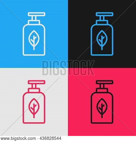 Pop Art Line Essential Oil Bottle Icon Isolated On Color Background. Organic Aromatherapy Essence. S