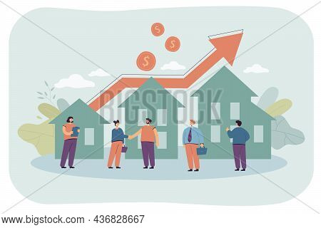 Sale Or Rent Of Real Estate Between Agent And Client. People Investing In Buying Houses Due To Risin