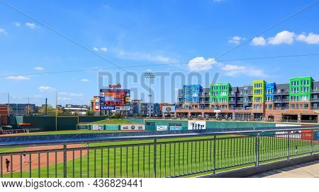 EAST LANSING, MI -22 AUGUST 2020- Outfield of the Cooley Law School baseball field in Lansing, Michigan