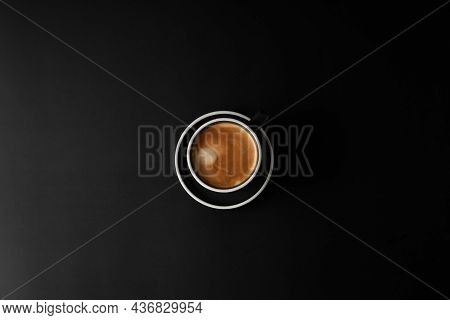 Cup Of Coffee On Black Background. Modern Lifestyle Flat-lay Top-down Minimalist Flat-lay. Top View.