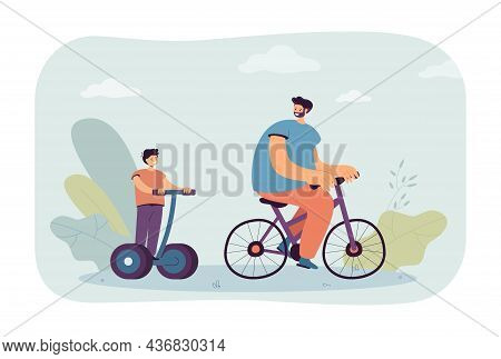 Cartoon Dad Riding Bike And Son On Personal Electric Transport. Man And Boy Using Ecological Transpo