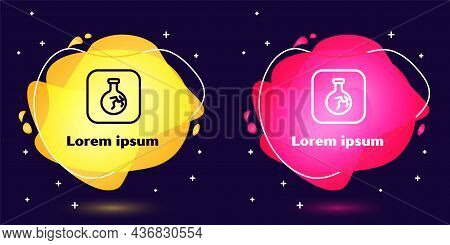 Set Line Cracked Test Tube And Flask Chemical Laboratory Test Icon Isolated On Blue Background. Labo