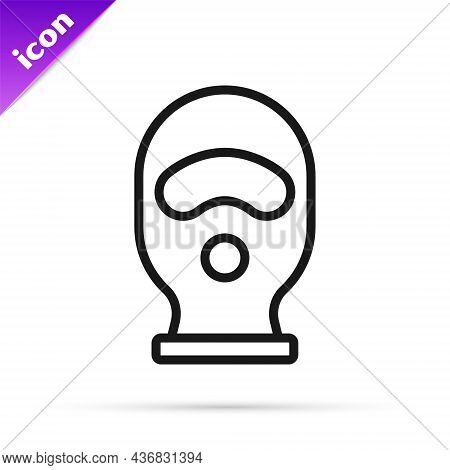Black Line Balaclava Icon Isolated On White Background. A Piece Of Clothing For Winter Sports Or A M