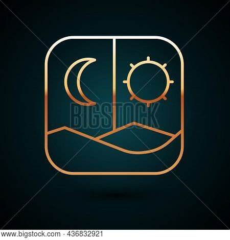 Gold Line Ramadan Fasting Icon Isolated On Dark Blue Background. Fast Day And Night. Religious Fasti