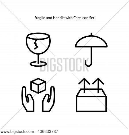 Fragile Icon Set Isolated On White Background. Fragile Icon Thin Line Outline Linear Fragile Symbol