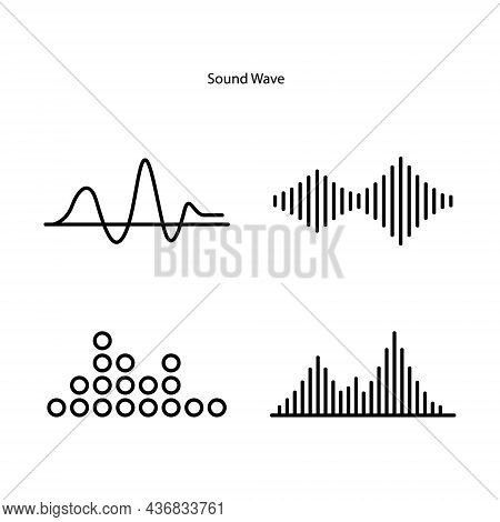 Sound Waves Concept. Sound Waves Icons. Sound Waves Sign And Symbol In Flat Style.