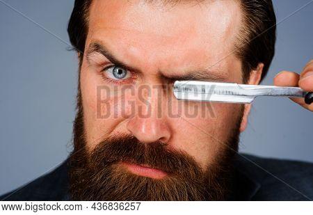 Handsome Bearded Man With Straight Razor. Barber Shop, Shaving. Advertising For Barbershop. Professi