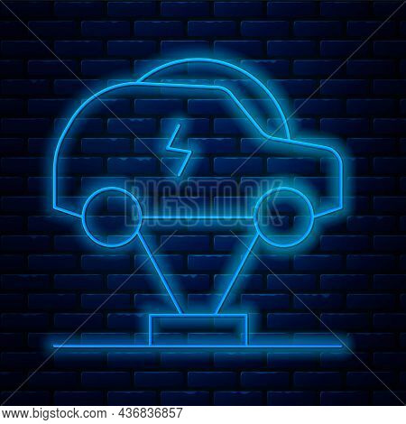 Glowing Neon Line Electric Car And Electrical Cable Plug Charging Icon Isolated On Brick Wall Backgr
