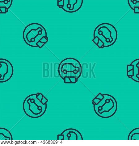 Blue Line Electric Car And Electrical Cable Plug Charging Icon Isolated Seamless Pattern On Green Ba