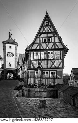 Old houses in Rothenburg ob der Tauber, Germany.  Black and white german cityscape