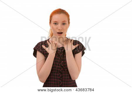 Woman Looking At The Camera In Surprise