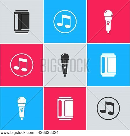 Set Beer Can, Music Note, Tone And Microphone Icon. Vector